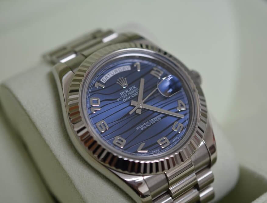 Replica Rolex Day-Date II 218239 Blue Wave Dial